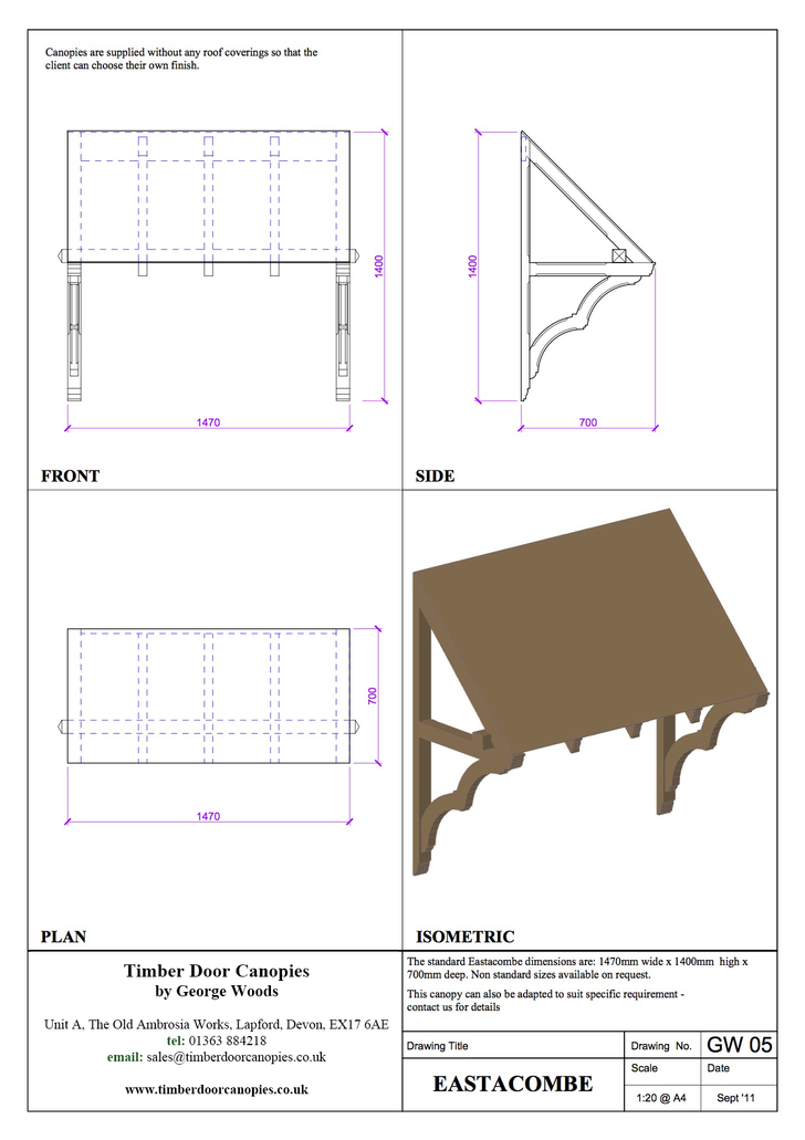 Gittisham canopy CAD drawings