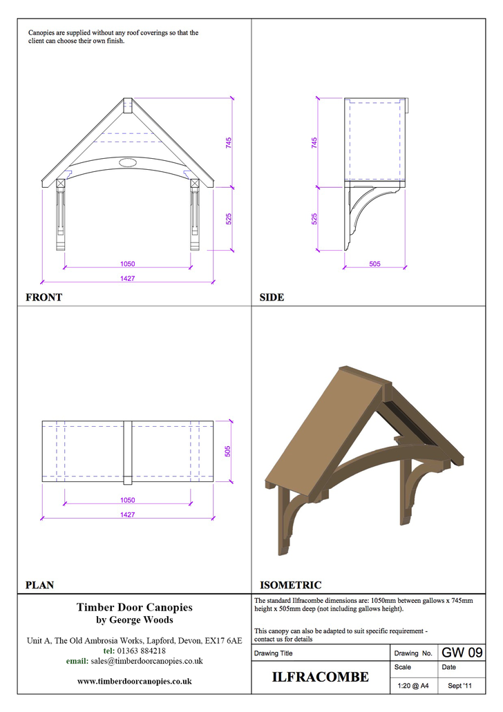 Harcombe canopy CAD drawings