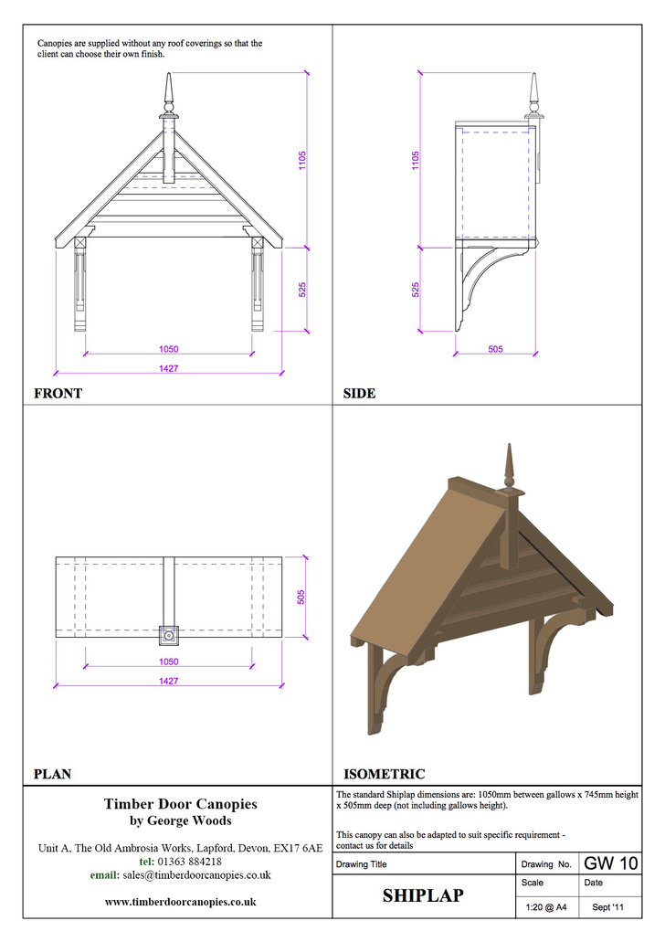 Shiplap Timber Door Canopy CAD Drawing