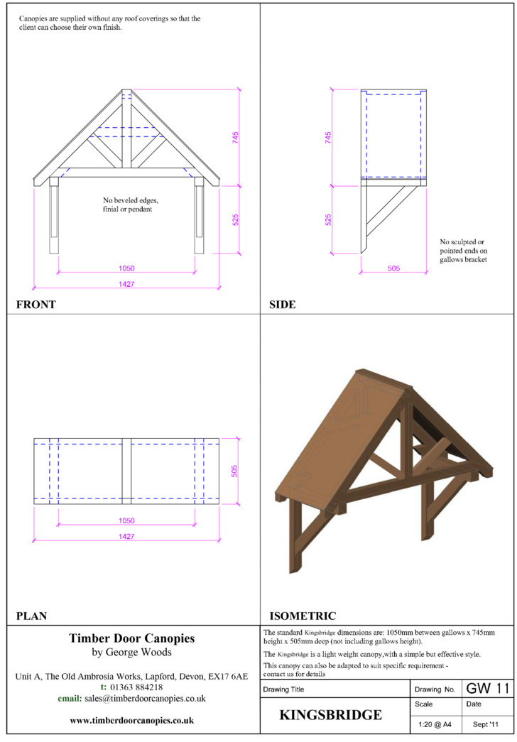 Kingsbridge timber door canopy CAD drawings